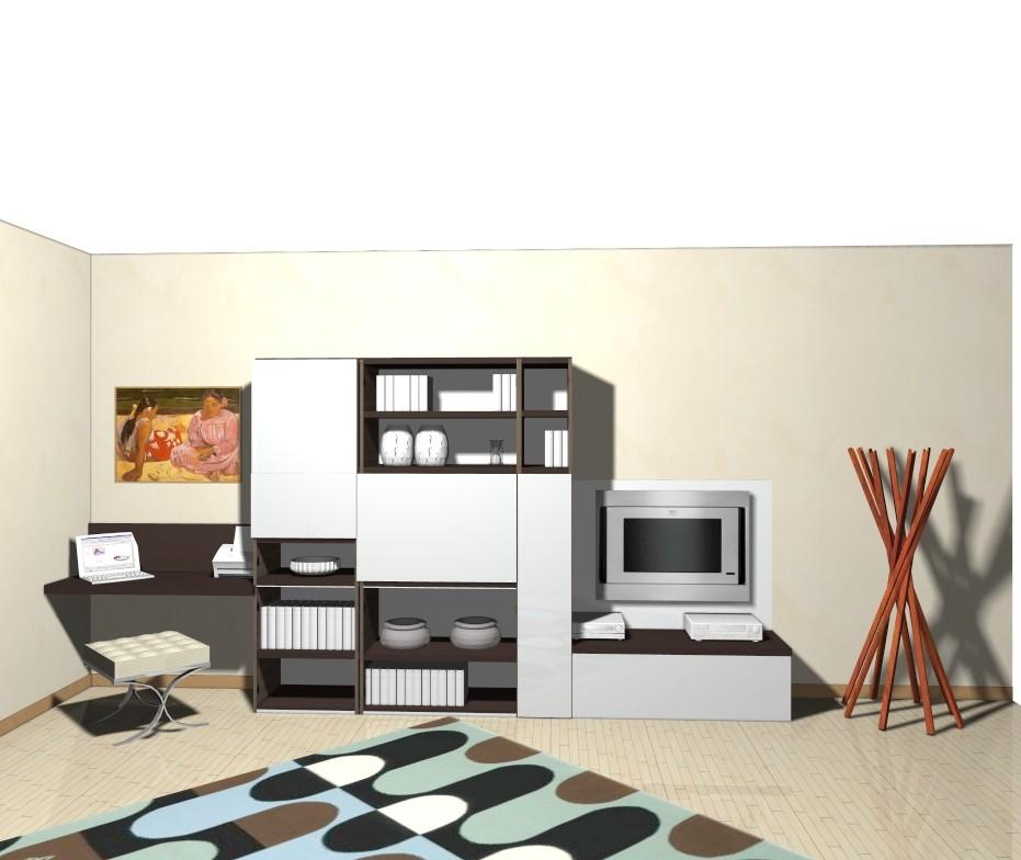 Un soggiorno con pannello porta TV, scrivania e libreria ...