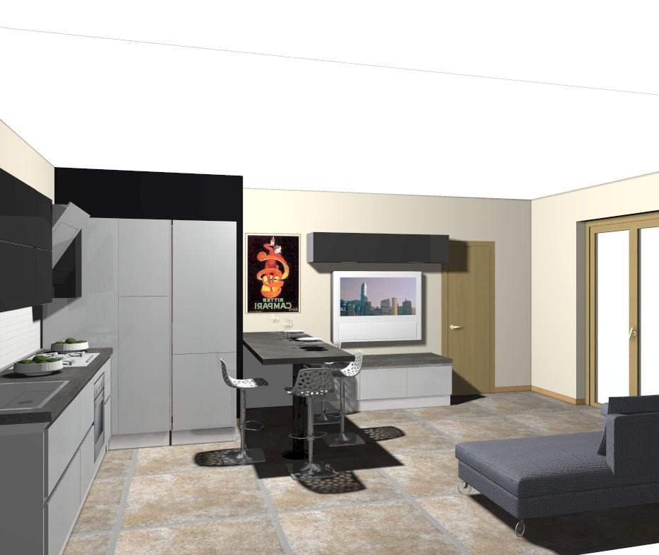 zona living: cucina e soggiorno per un ambiente unico e funzionale ...